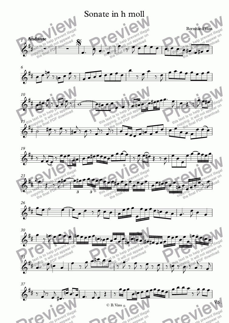 page one of the Traverso 2 part from Sonate für 2 Traversflöten in h moll