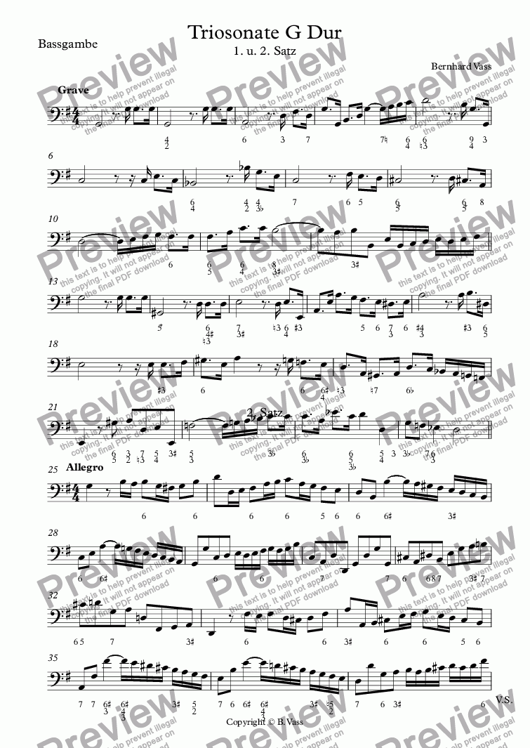 page one of the Bassgambe part from Triosonate G Dur