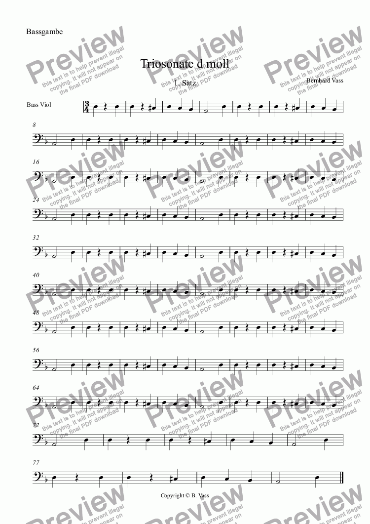 page one of the Bassgambe part from Triosonate d moll