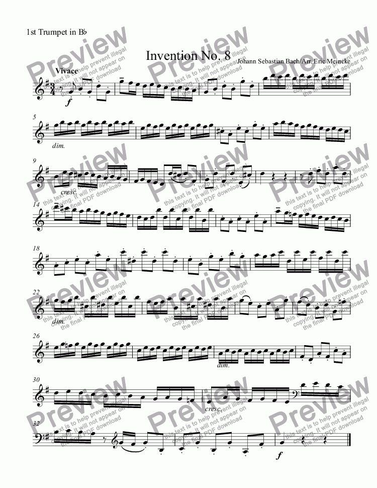 page one of the 1st Trumpet in B^b part from Invention No. 8