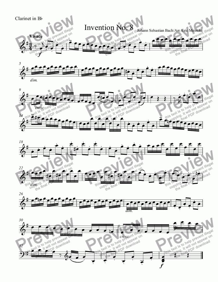 page one of the Clarinet in B^b part from Invention No. 8