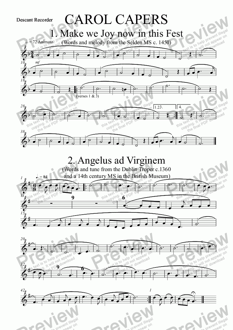 page one of the Descant Recorder part from CAROL CAPERS