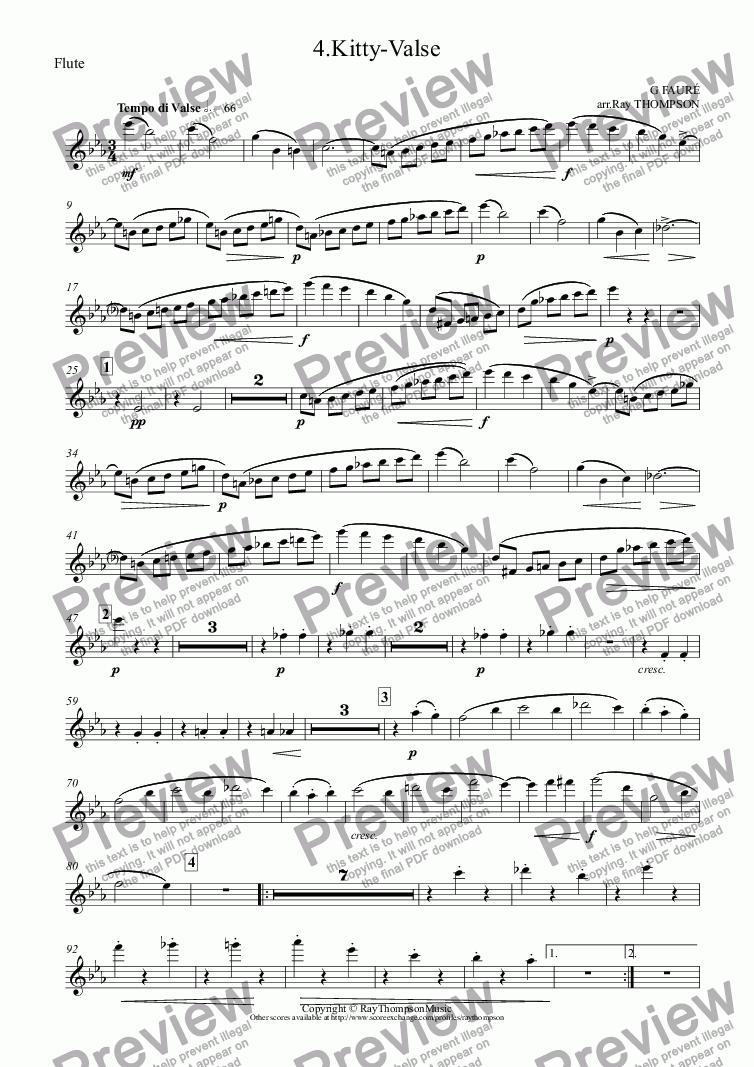 page one of the Flute part from Dolly Suite: 4.Kitty-Valse