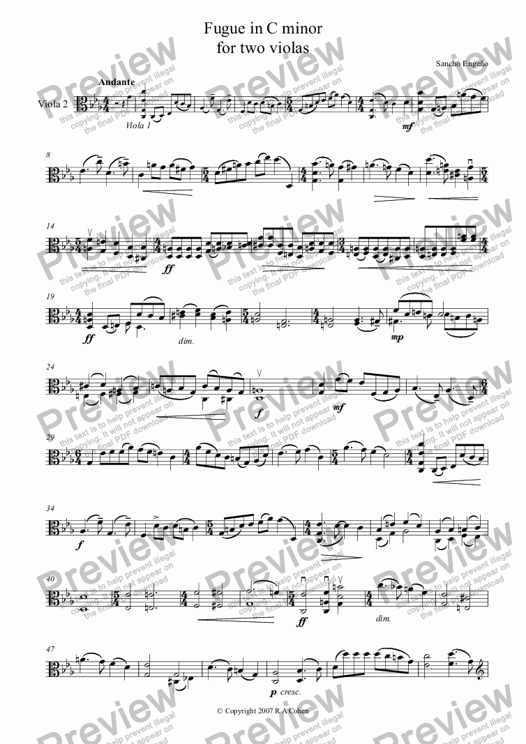 page one of the Viola 2 part from FUGUE in C minor - for two violas