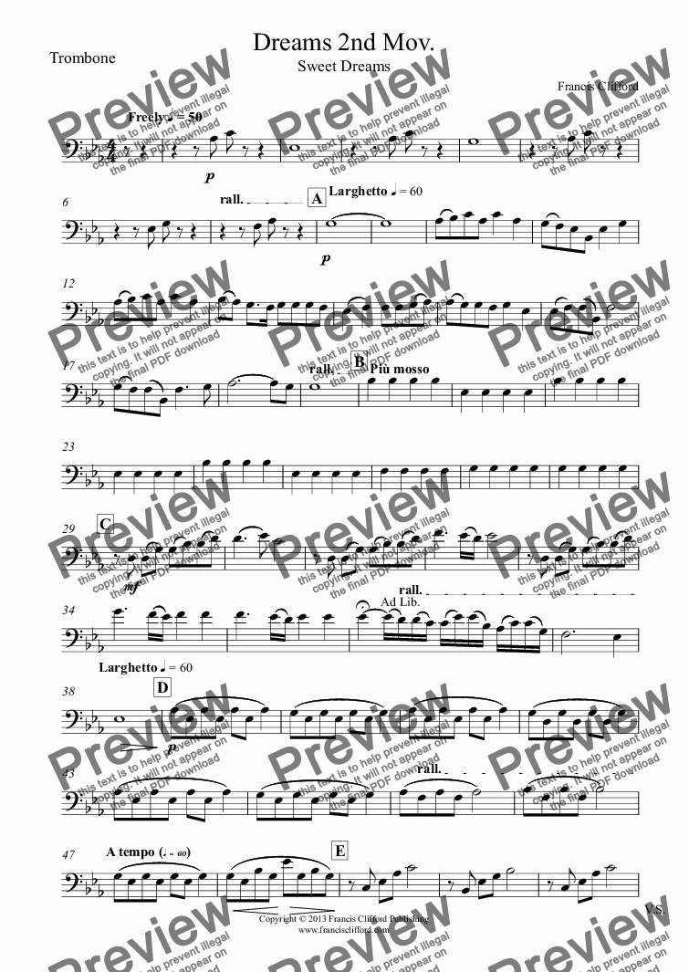page one of the Trombone part from 3 Dreams for Brass Quintet (2nd Movement)
