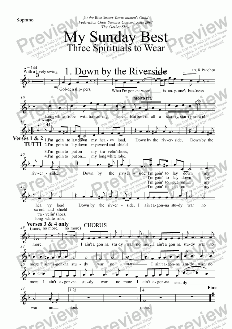 page one of the Soprano part from My Sunday Best: Three Spirituals to Wear