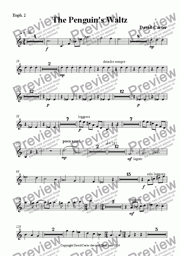 page one of the Euphonium 2 part from The Penguin's Waltz