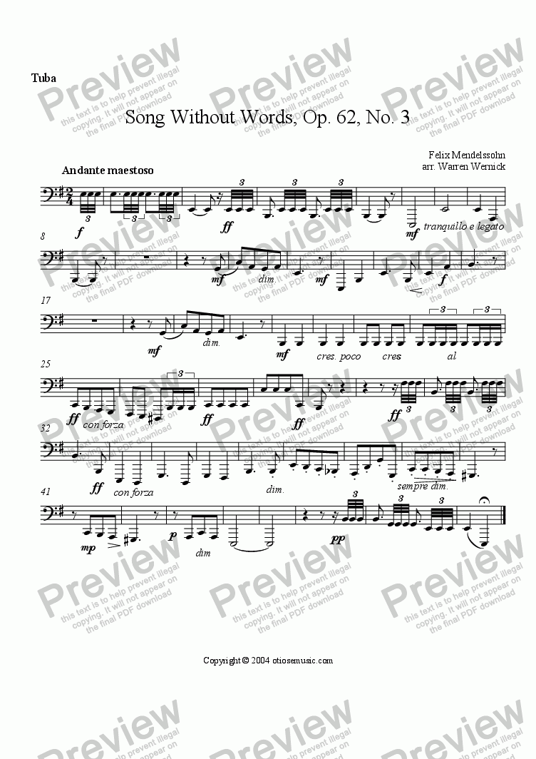 "page one of the Tuba part from Song Without Words, Op. 62, No. 3 ""Trauermarsch"" for Brass Sextet"