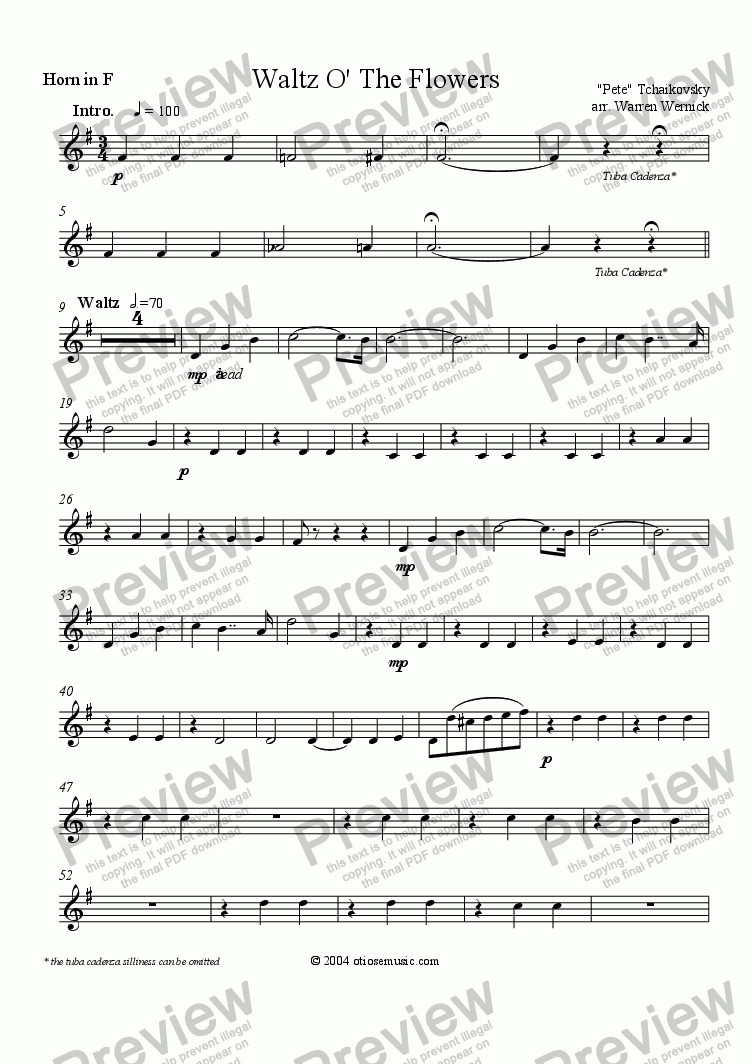 page one of the Horn in F part from Waltz O' The Flowers for Brass Quintet