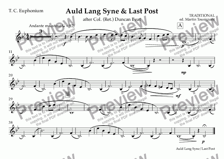 page one of the T. C. Euphonium part from Auld Lang Syne & Last Post