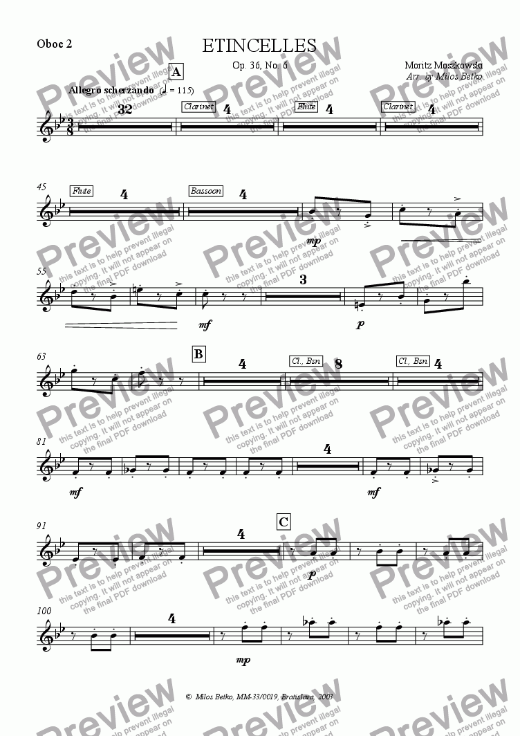 page one of the Oboe 2 part from Sparks