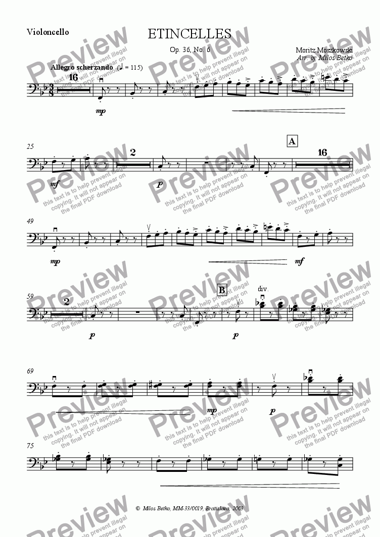 page one of the Violoncello part from Sparks