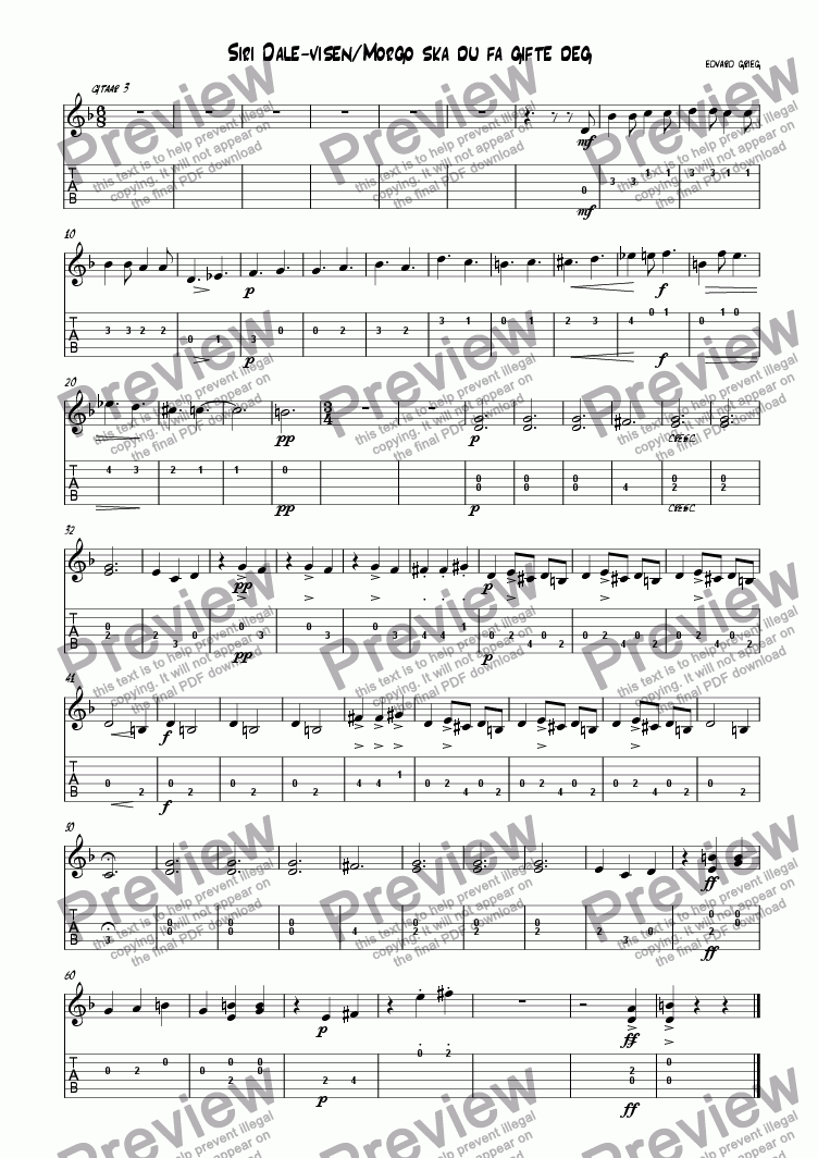page one of the guitar3 part from 2 norwegian folk-songs (from op.66) by grieg