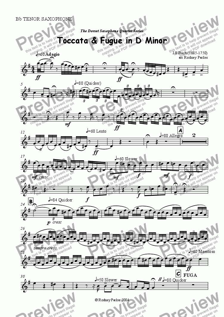 page one of the Tenor Saxophone part from Toccata & Fugue in D Minor