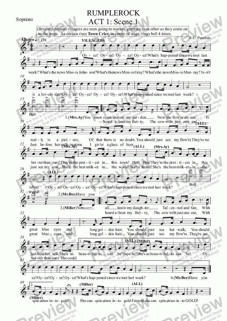 page one of the Soprano part from RUMPLEROCK