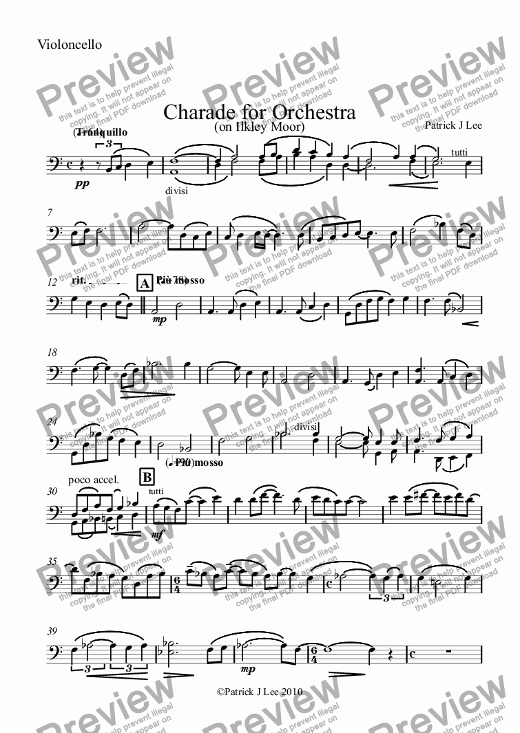 page one of the Violoncello part from Charade for Orchestra
