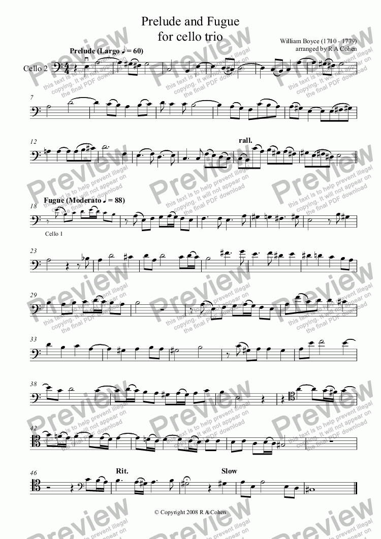 page one of the Cello 2 part from Boyce - PRELUDE and FUGUE - for cello trio
