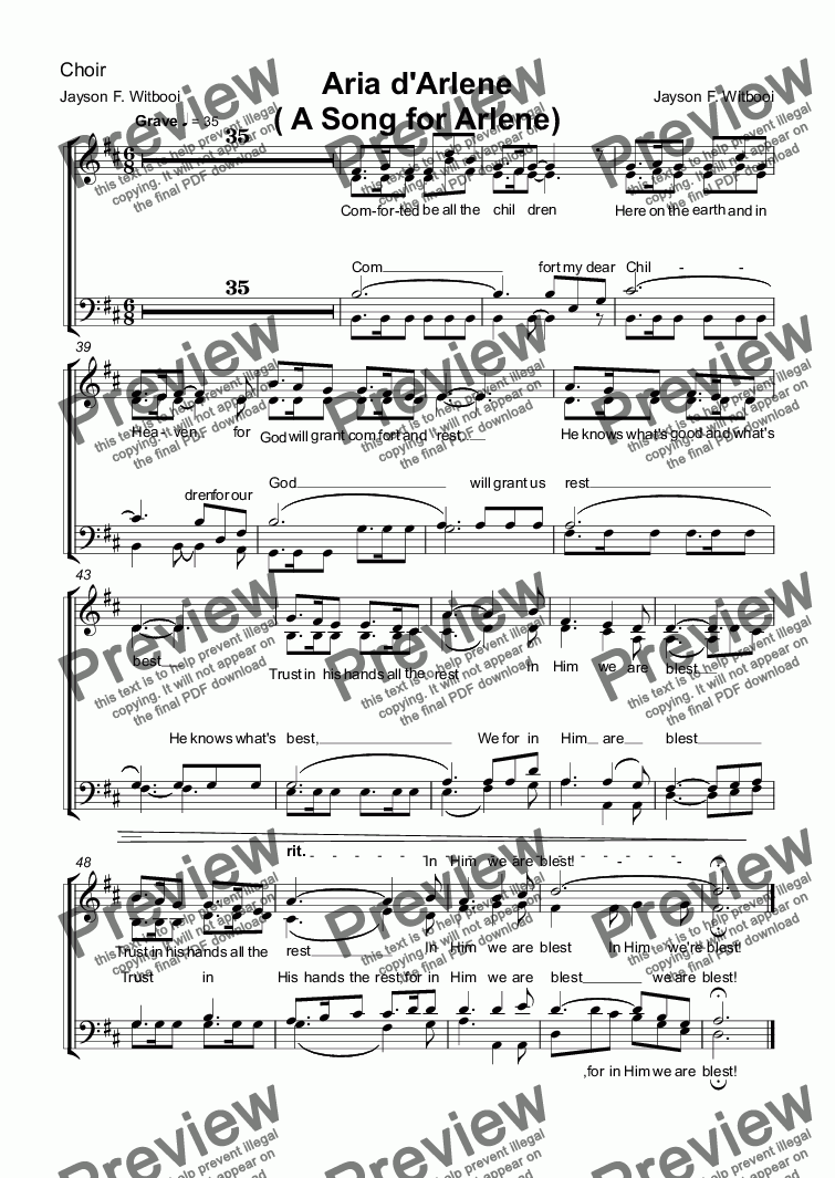 page one of the Choir part from Aria d'Arlene  ( A Song for Arlene)