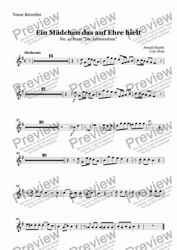 page one of the Tenor Recorder part from Ein Mädchen das auf Ehre hielt (Haydn)