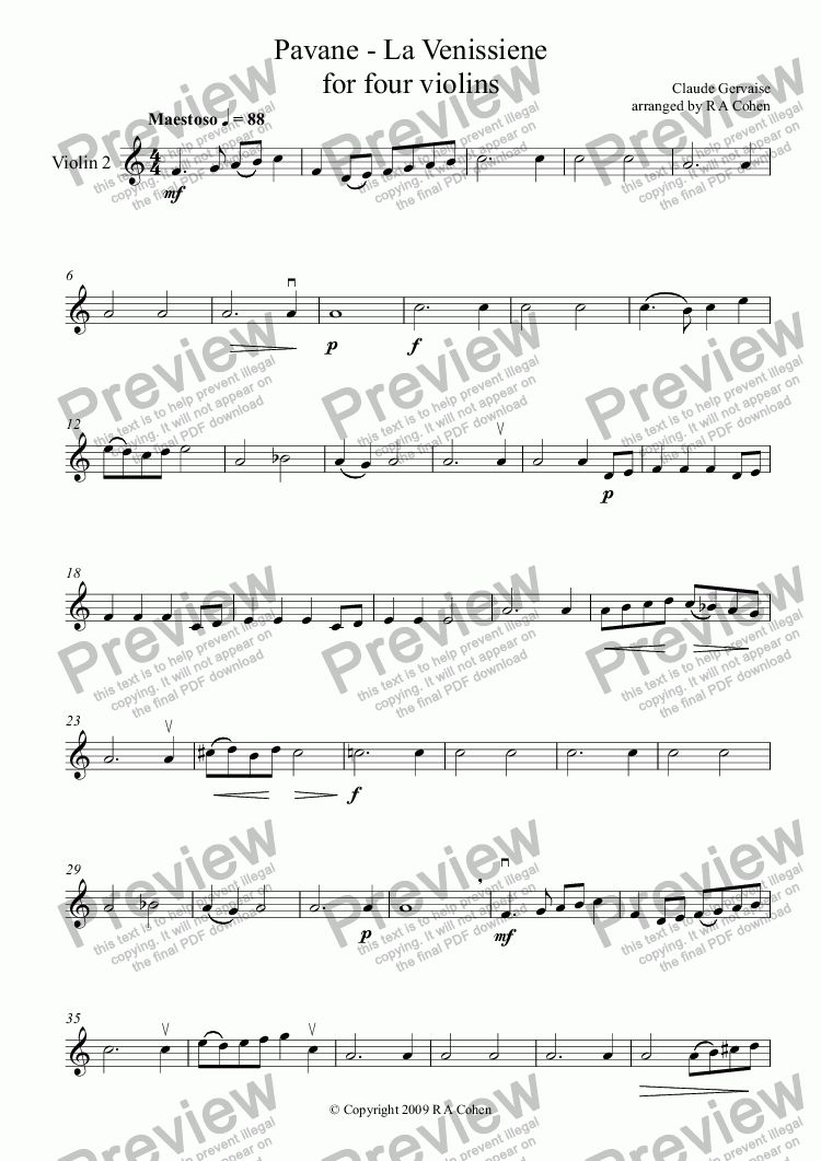 page one of the Violin 2 part from Gervaise - PAVANE - La VENISSIENE - for four violins