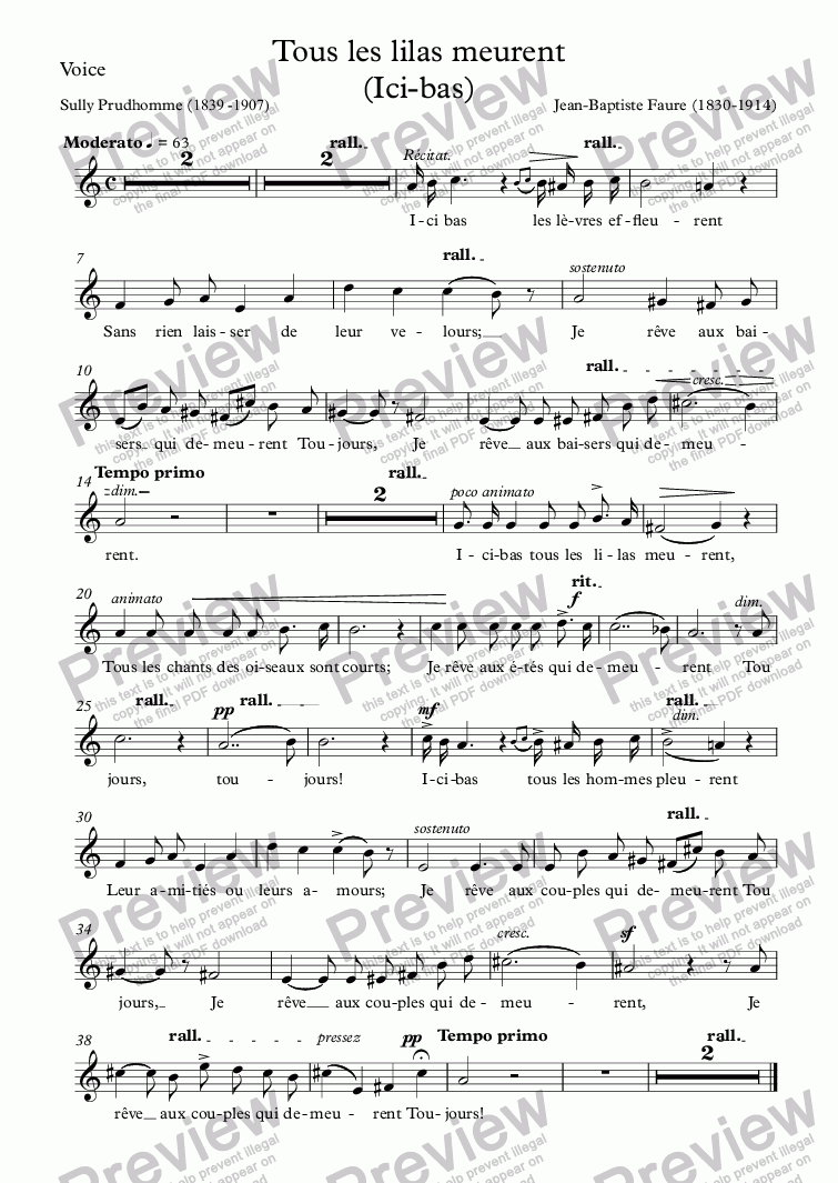 page one of the Voice part from Ici-bas (Tous les lilas meurent) (J-B Faure / Sully Prudhomme)