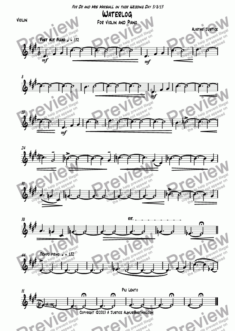 page one of the Violin part from Waterlog
