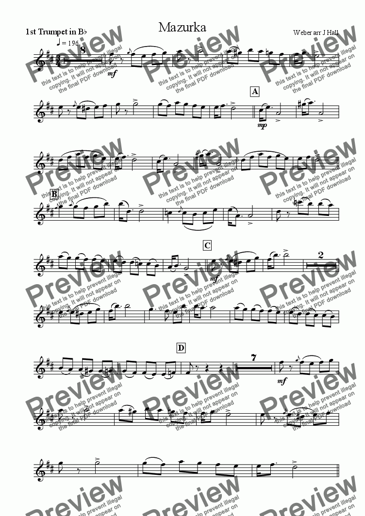 page one of the Trumpet 1 part from Mazurka