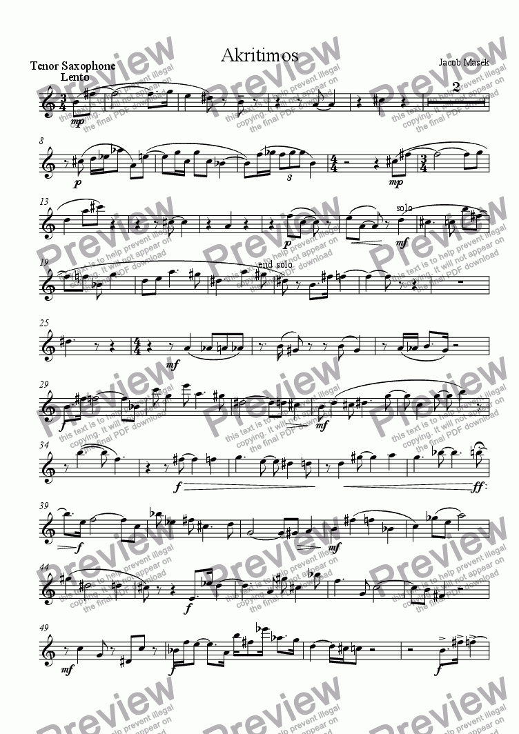 page one of the Tenor Saxophone part from Akritimos