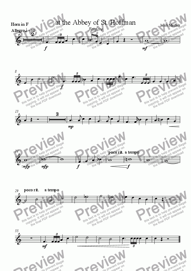 page one of the French Horn part from Fanfare at the Abbey of St. Hoffman