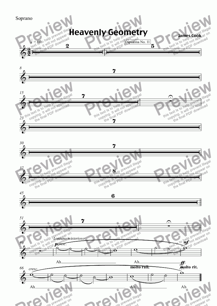 page one of the Soprano part from Heavenly Geometry