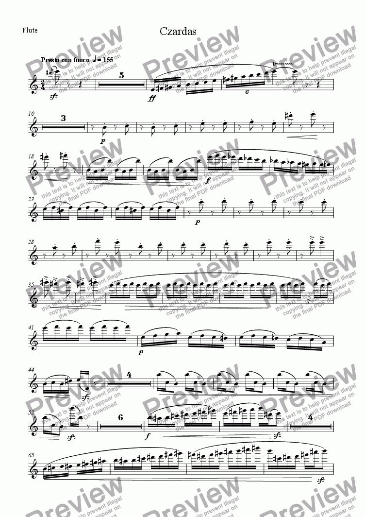 page one of the Flute part from Czardas for Wind Quintet