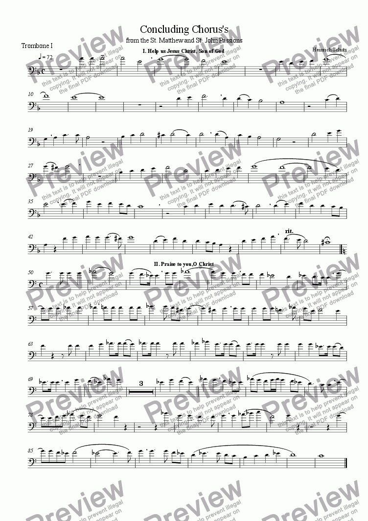 page one of the Trombone I (bass clef) part from Concluding Choruses from the St. Mathew and St. John Passions of Heinrich Schutz