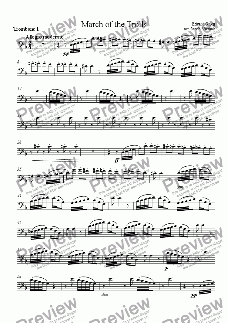 page one of the Trombone I part from March of the Trolls