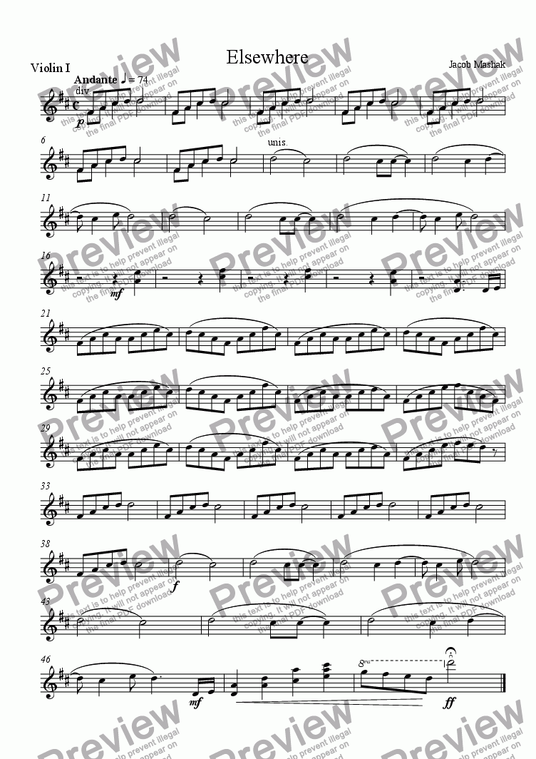 page one of the Violin I part from Elsewhere