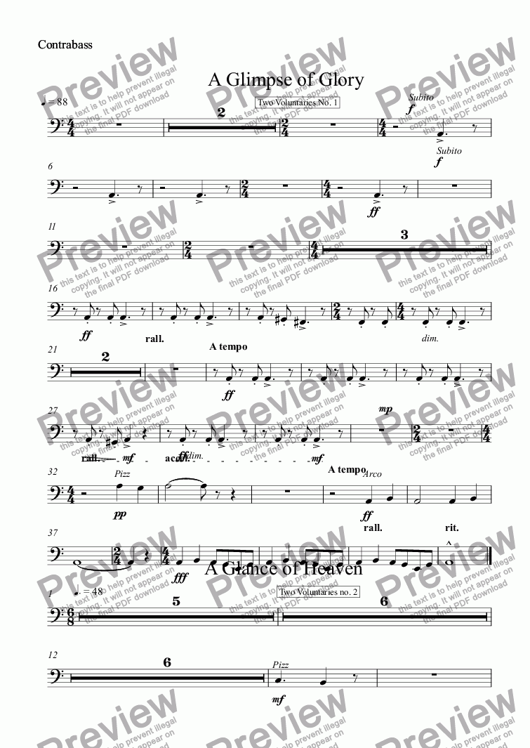 page one of the Contrabass part from A Glimpse of Glory