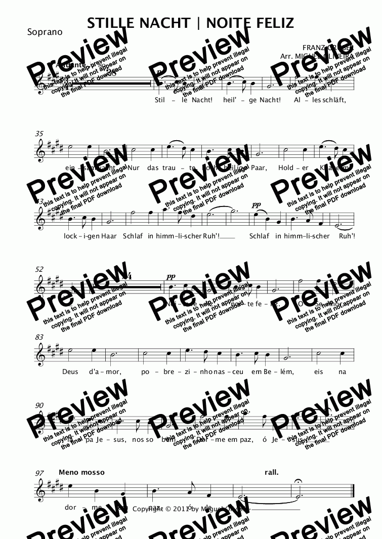 page one of the Soprano part from STILLE NACHT | NOITE FELIZ - Christmas song for soprano, alto saxophone, double bass and piano