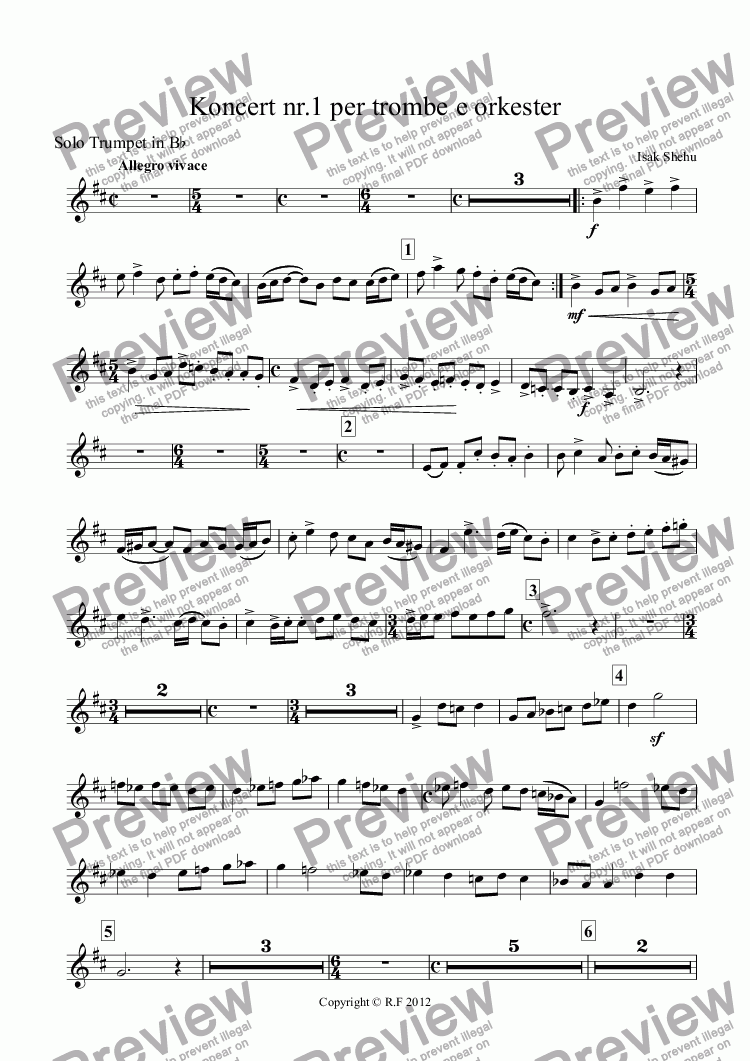 page one of the Solo Trumpet in Bb part from Concert nr.1 for trumpet and orchestra