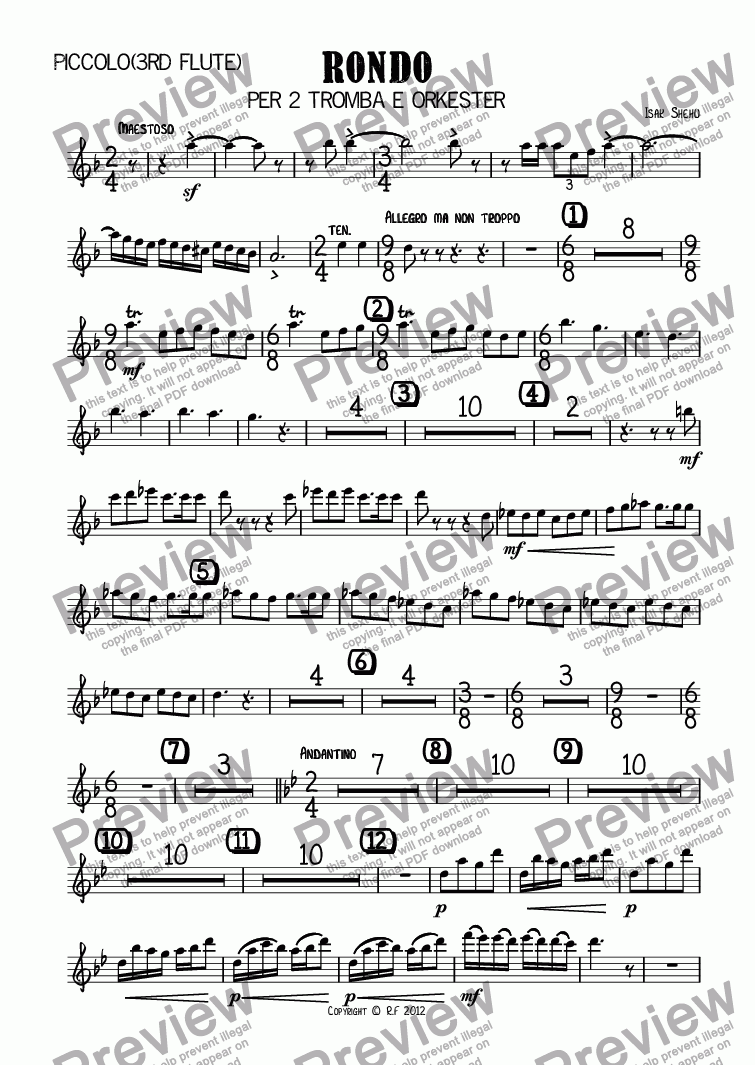 page one of the Piccolo(3rd Flute) part from RONDO for 2 Trumpets and Orchestra