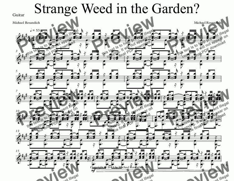 page one of the Guitar part from Strange Weed in the Garden?