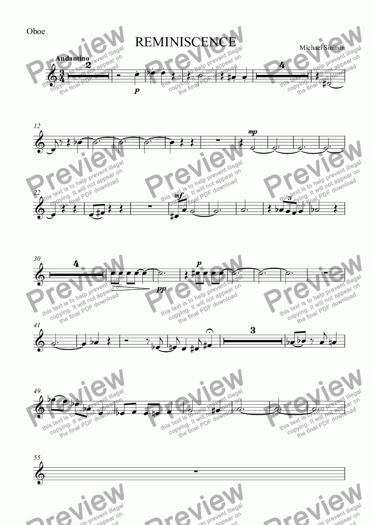 page one of the Oboe part from REMINISCENCE