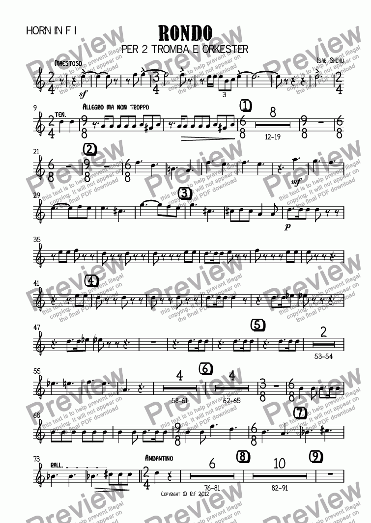 page one of the Horn in F I part from RONDO for 2 Trumpets and Orchestra