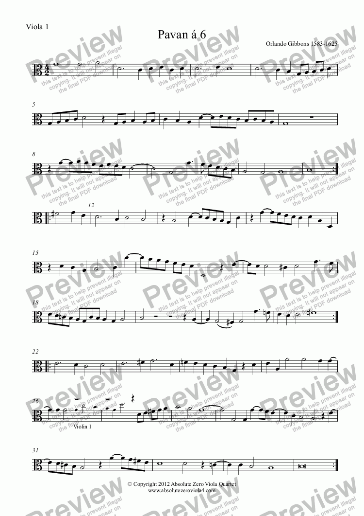 page one of the Viola 1 part from Gibbons - PAVAN & GALLIARD á 6 - for string sextet