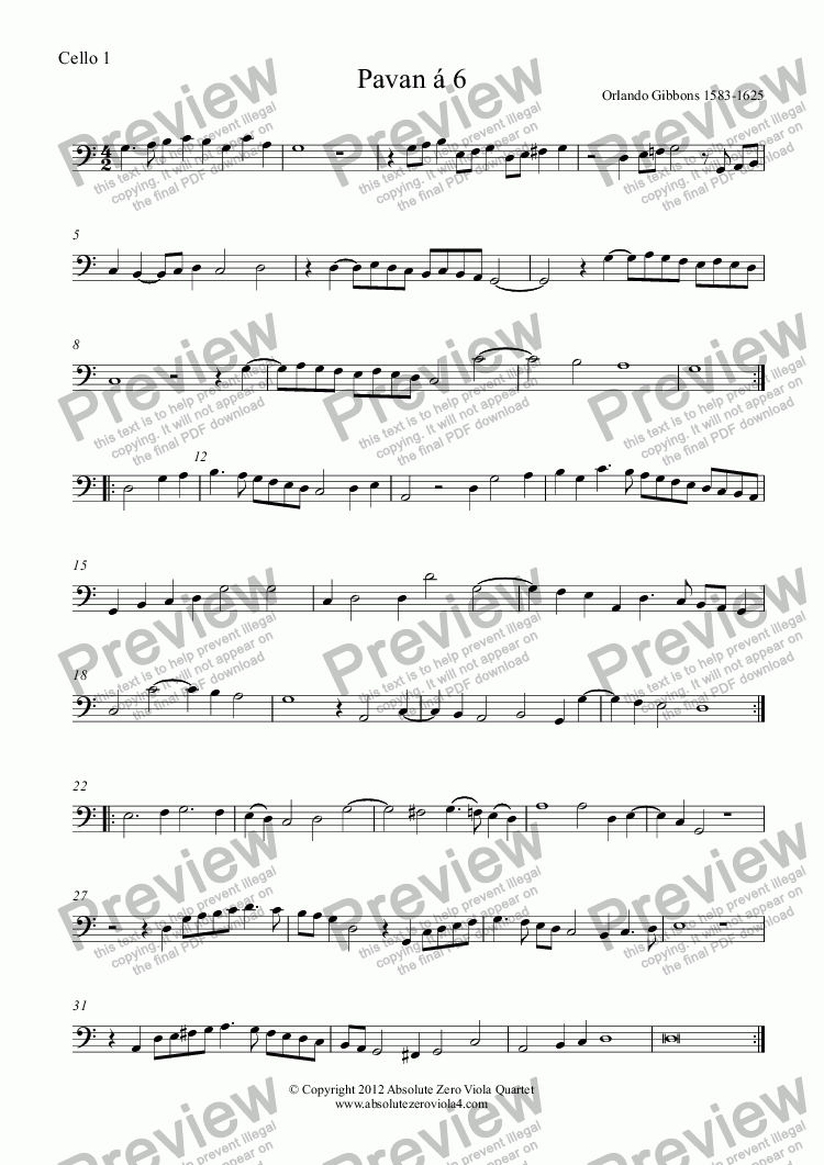 page one of the Cello 1 part from Gibbons - PAVAN & GALLIARD á 6 - for string sextet