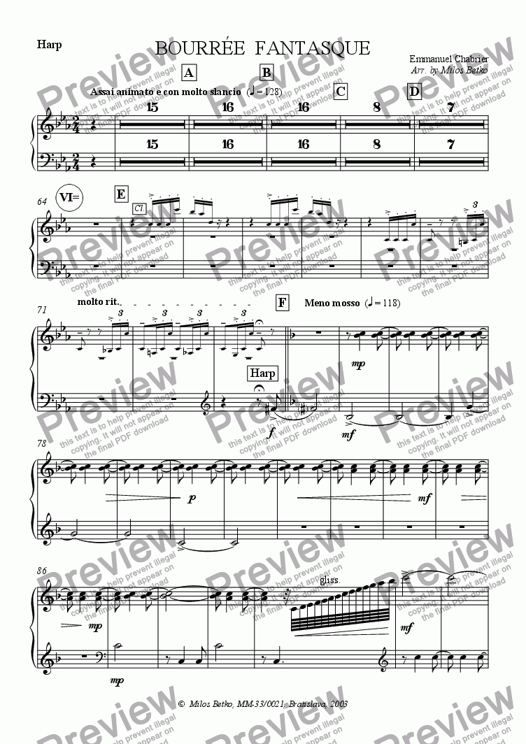 page one of the Harp part from Bourree Fantasque