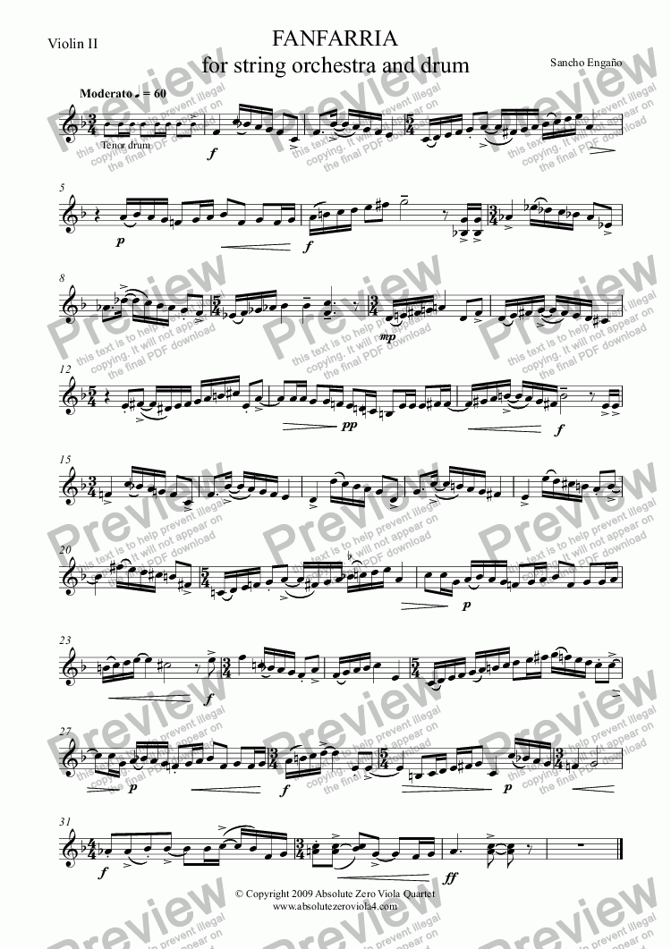 page one of the Violin II part from FANFARRIA - for string orchestra and drum