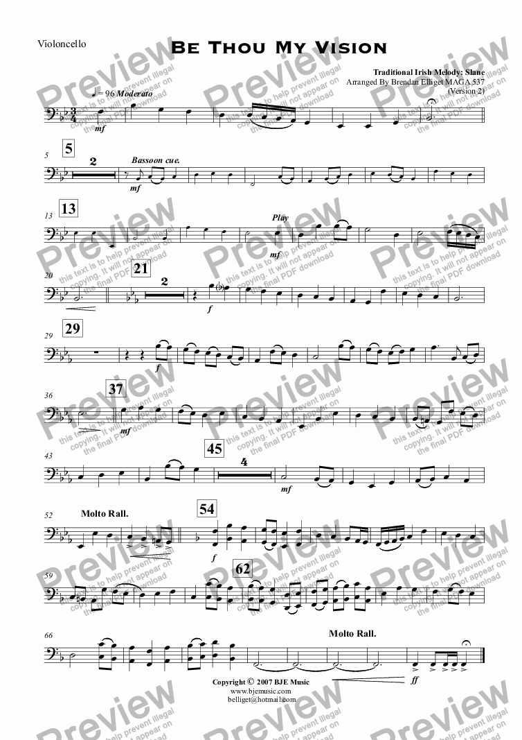 page one of the Violoncello part from Be Thou My Vision (Slane) - Concert Band