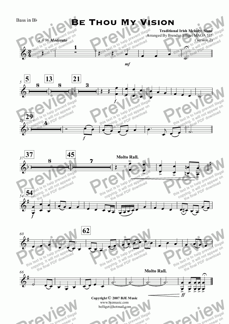page one of the Bass in B^b part from Be Thou My Vision (Slane) - Concert Band