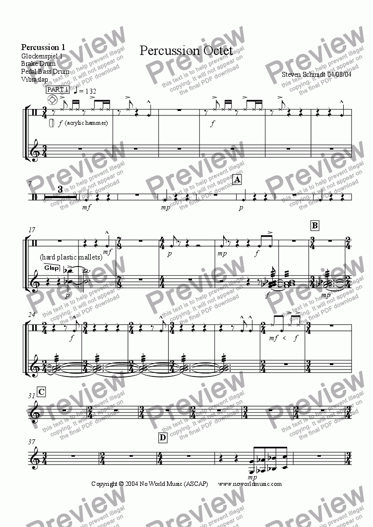 page one of the Percussion 1 part from Percussion Octet