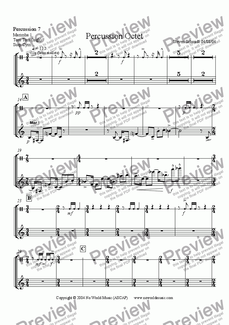 page one of the Percussion 7 part from Percussion Octet