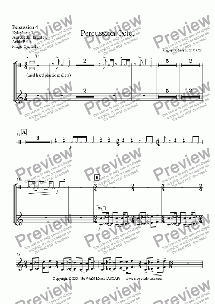page one of the Percussion 4 part from Percussion Octet